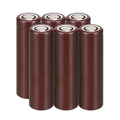 (WolfonFire 6PCS 18650 LG HG2 Rechargeable 3000mAH 3.7V Batteries Flat Top for Flashlight Torch Alarm Clock Handheld Flashlights Toy Small Fans)