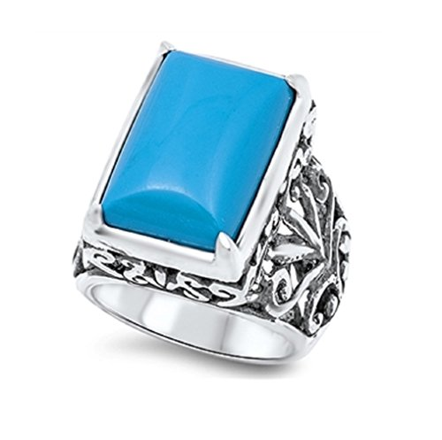 Large Rectangular Simulated Turquoise Filigree Floral Ring 925 Sterling Silver Size 9