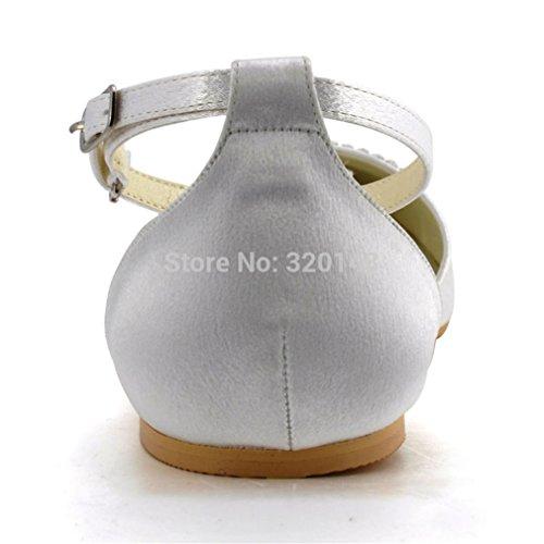 Femmes Chaussures Blanches Bout Pointu Strass Cheville Sangle Confortable  Ballerines Satin Mariage Appartements De Mariée Femme ... 0192891e32e8
