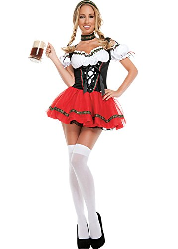 Womens Oktoberfest Sexy Costumes Dirndl Maid Dress for Halloween Carnival]()