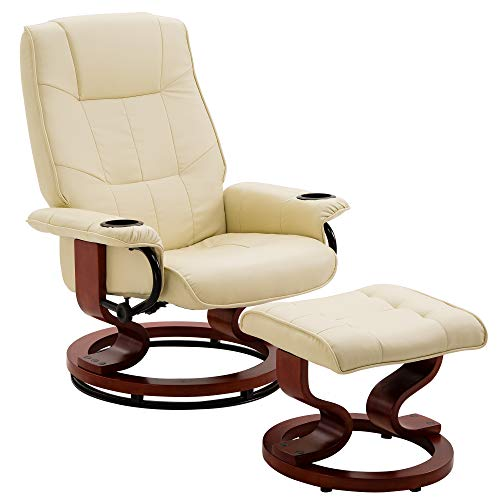 Leather Bedroom Chair (Leather Recliner and Ottoman Living Room Chair Set with Swiveling Mahogany Wood Base and Two Cup Holders(Beige))