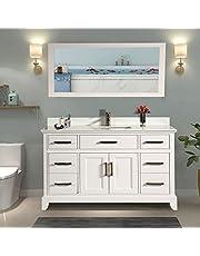 Vanity Art 60 Inch Single Sink Bathroom Vanity Set | Super White Phoenix Stone Top, 7 Drawers 1 Shelf Undermount Sink with Free Mirror - VA1060-W