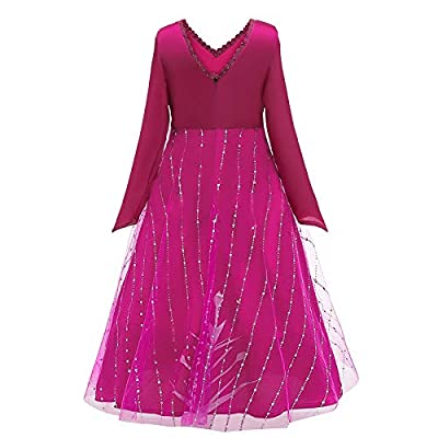 BIBIHOU Elsa 2 Dress Up Rose Costume Kids Dress Princess Long Sleeve Robe Birthday Party Dress: Clothing