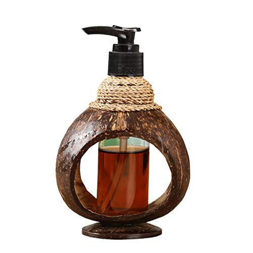 (TangMengYun Coconut Shell Soap Dispenser Creative Pressing Retro Handmade Shower Gel Hand Sanitizer Bottled Bathroom Kitchen Soap Bottle)