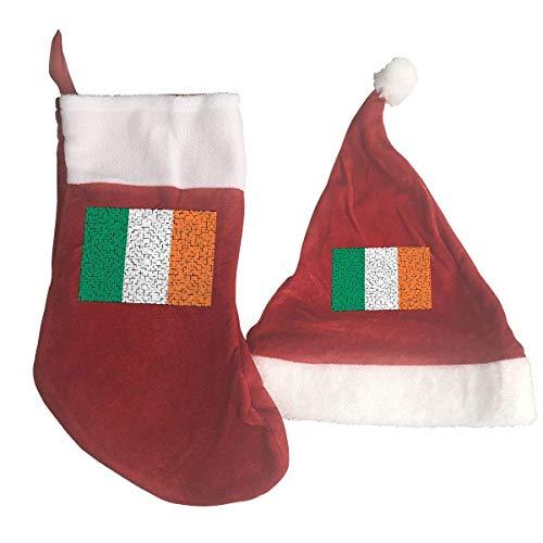 Ireland Flag Puzzle Santa Hat & Christmas Stocking Holiday Christmas Decorations Party Accessory