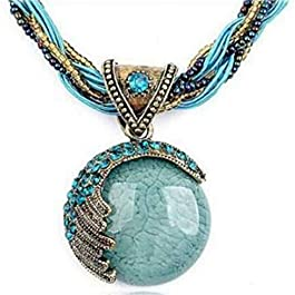 CanViUK Opal Pendant Necklace Creative Vintage Long Boho Tassel Necklace Trendy Bohemian for Women Accessories Jewelry