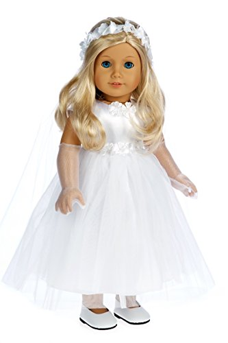 (Little Angel - 4 piece outfit - White satin and tule first communion dress for american girl dolls with long gloves, veil and white shoes - 18 Inch Doll Clothes (doll not included))