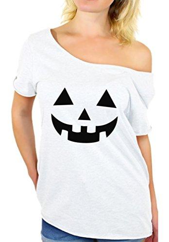 Awkward Styles Women's Jack O' Halloween Pumpkin Off The Shoulder Tops for Women T Shirts Lantern Pumpkin Halloween Costume White L