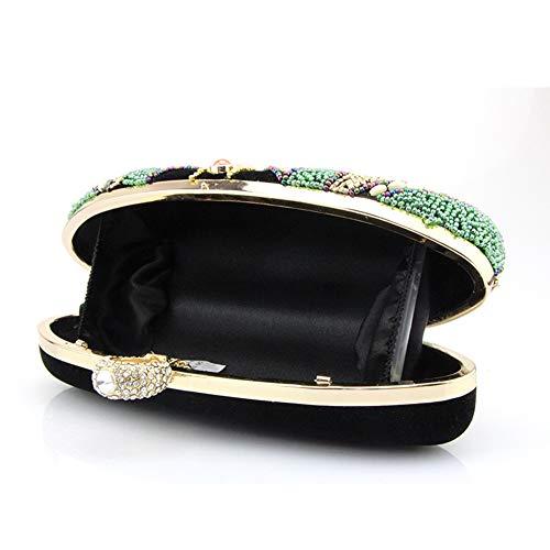 métalliques 23x11x7cm Sac de Paillettes d'autres Parti Bal Handmade soirée 9x4x3inch Et Enveloppe Perles pour fériés Jours Cheongsam Sac Noir Noir Femme YBwUdB