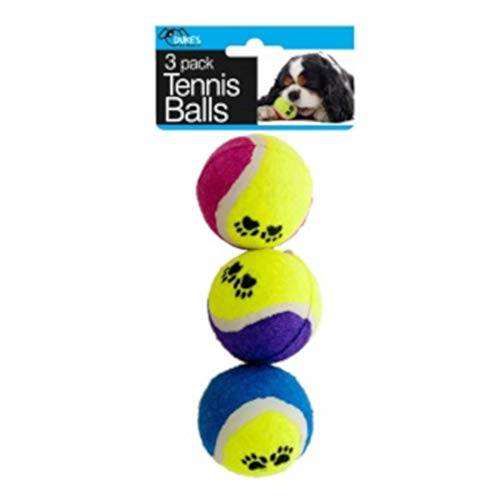 OIG Brands Tennis Balls Toys for Dogs, Pet Thrower Supplies for Puppy Exercise and Training, Pack of (Paw Print Tennis Balls)