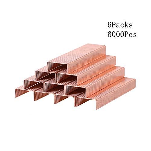 Alsisk 26/6 Staples 12mm Width 6 Boxes-6000, Rose Gold