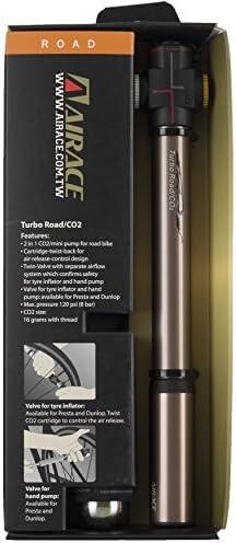 Reversible Presta /& Dunlop Air Valves AiraceUSA Bike Mini Bronze 2-in-1 CO2 Inflator /& Hand Pump AI-AC-05 with CO2 Cartridge Sleeve /& Mounting Bracket