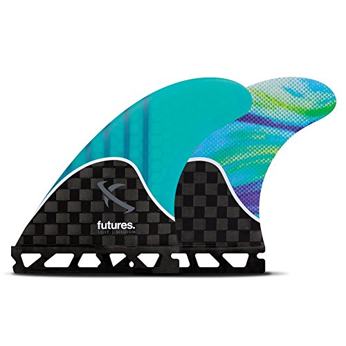 Future Fins Lost V2 Generation Thruster Set, Carbon/Teal/Swirl, Medium by Futures