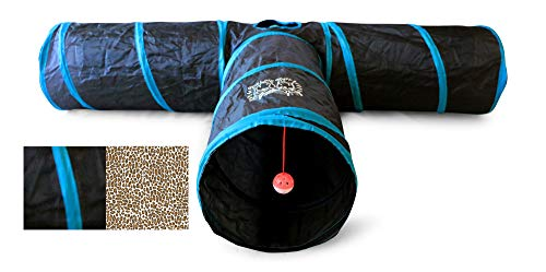 Feline Ruff Premium 3 Way Cat Tunnel. Extra Large 12 Inch Diameter and Extra Long. A Big Collapsible Play Toy. Wide Pet Tunnel Tube for Other Pets Too!