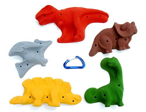5 Pack Dinosaurs Screw On l Climbing Holds l Mixed Earth Tones by Atomik Climbing Holds