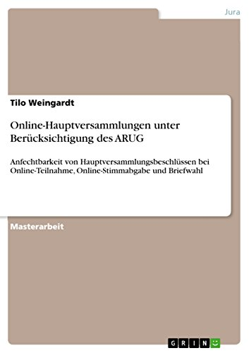 Online-Hauptversammlungen und -Parteitage (German Edition)