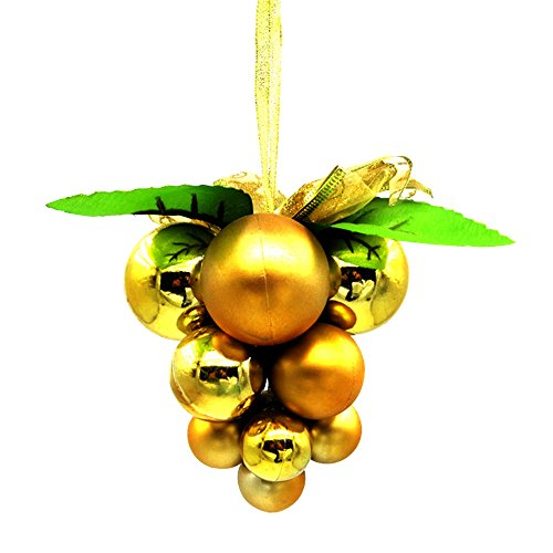 - Baiyu Christmas Grape Ball Cluster Strings Xmas Tree Roof Hanging Decoration Ornament Festival Party Pendant Baubles--Golden
