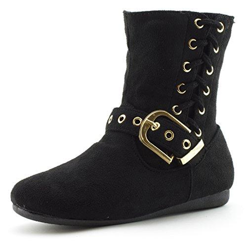 Zipper Faux Black Toddler Suede Side Big Little Link Kid Girls Kid Slouch Boots tHEwwaq