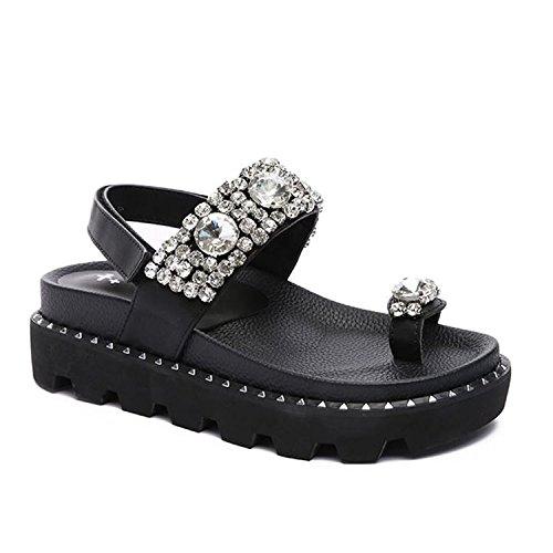 casual strass toe open antiscivolo sandali rivetti YMFIE tacco moda sandali signore Estate black alto pnw4YZ