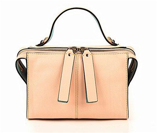 Bolsos de señora Xinmaoyuan Cowhide Mini Bolsa Bolso de Hombro College viento pequeño cuadrado bolsa Rosa