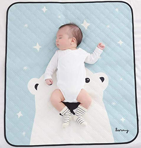 Baby Quilting Waterproof Pad Mat – Reusable Ultra Soft Washable Toddler Mattress Pad Cover, Diaper Changing - SGS Certified, 100% Safe, Chemical-Free, for Boys and Girls (L, Mint)
