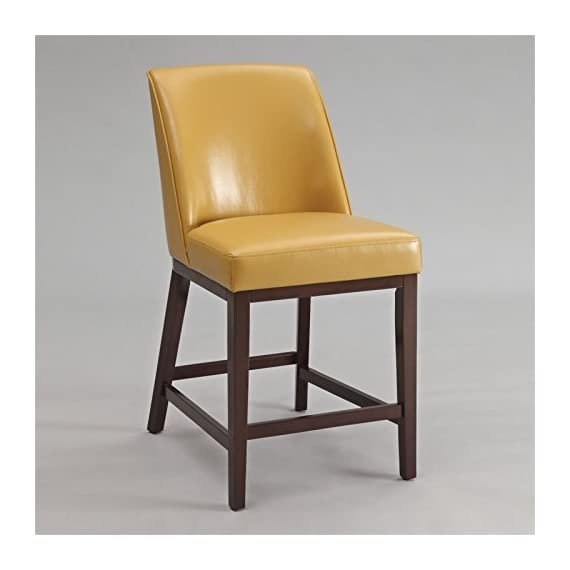 ACME Furniture Valor Counter Height Chair (Set of 2), Yellow PU - Armless Chair Padded Back & Seat: PU Cushion (w/Welt Piping) Seat: Webbing cushion - kitchen-dining-room-furniture, kitchen-dining-room, kitchen-dining-room-chairs - 41Xp%2Bnq jWL. SS570  -