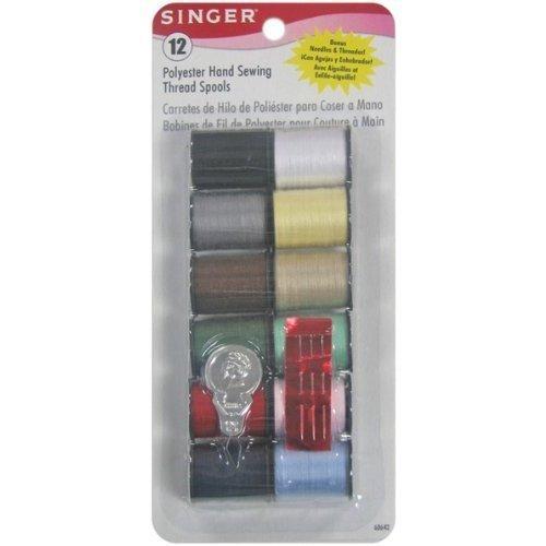 Singer Polyester Thread (25 Yard Spools) 12 Per Package - Light and Dark - Spools Polyester Thread 12