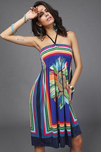 Solilor Women New Baroque Floral Print Beach Halter A-Line Dresses, Blue, Onesize
