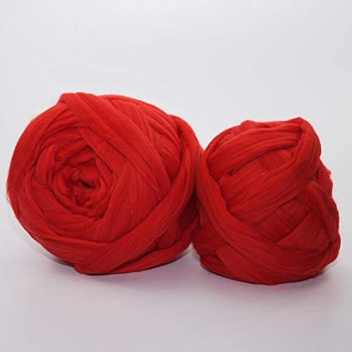 Giant Wool Yarn Chunky Merino Arm Knitting Super Soft Wool Yarn Bulky Wool Roving Red 8 lbs