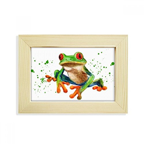 DIYthinker Polypedatid Green Frogs Desktop Wooden Photo Frame Picture Art Painting 5x7 inch ()