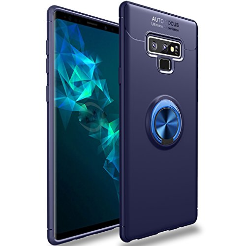 Galaxy Note 9 Case,WATACHE Slim Fit Heavy Duty Soft TPU Case with Metal Finger Ring Grip Holder Kickstand [Support Magnetic Car Mount] for Galaxy Note 9(Blue)