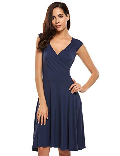 Hotouch Womens Sleeveless Deep V Neck Casual Swing Cocktail Evening Party Dress(Navy Blue (Jersey Deep V-neck Dress)