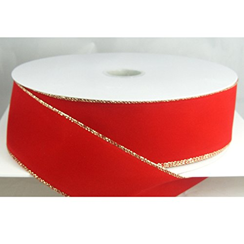 Red Velvet Ribbon - Wired Traditional Red with Gold Edges Velvet Christmas Ribbon 2 1/2