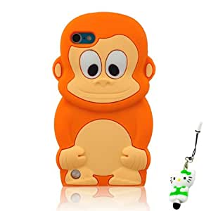 JBG Lovely 3D Orange Monkey Soft Silicon Case Cover Compatible for Ipod Touch 5/5g/5th Generation
