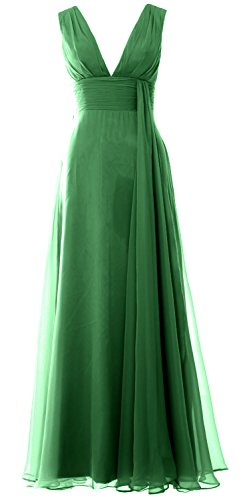 Dress Prom Chiffon Deep MACloth Bridesmaid Long Women Simple Gown clover Neck V YxFxAqp