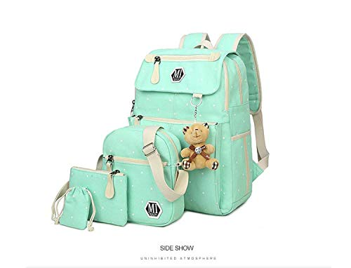(Women Canvas 4Pcs/set School Backpacks College Schoolbag Girl And Boys Rucksack Shoulder Bag,Green)