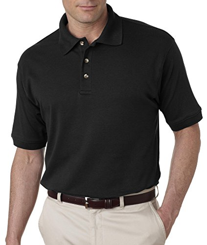 UltraClub Men's Egyptian Interlock Polo Shirt - Black 8505 L