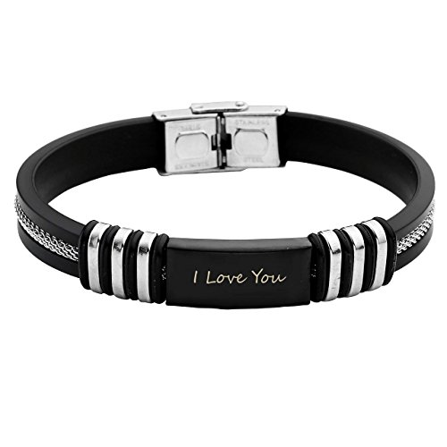 JOVIVI Personalized Engraved Stainless Steel Rubber Bracelet for
