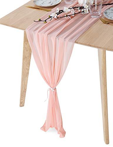 (SoarDream Chiffon Wedding Table Runners 27x120 inches Perfect Chiffon Table Runner Wedding Decoration)