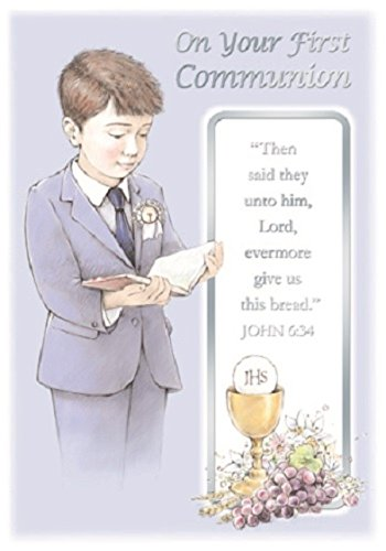 First Holy Communion Greetings Card Boy With Gold Chalice Grapes