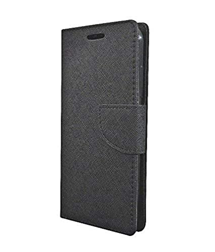huge discount c7f16 7ca3d COVERNEW British Leather Flip Cover for Vivo 1803 (Vivo Y81) - Black  FittoFlipVivoY81Black