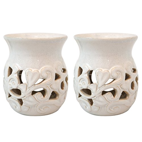 Hosley's Set of 2 White Ceramic Oil Warmer - 4.3