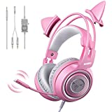 SOMIC G951s Pink Stereo Gaming Headset with Mic for PS4  Xbox One  PC  Mobile Phone  3.5MM Sound Detachable Cat Ear Headphones Lightweight Self-Adjusting Over Ear Headphones for Women