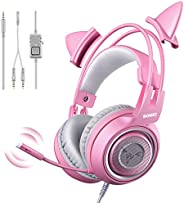 SOMIC G951s Pink Stereo Gaming Headset with Mic for PS4, Xbox One, PC, Mobile Phone, 3.5MM Sound Detachable Ca