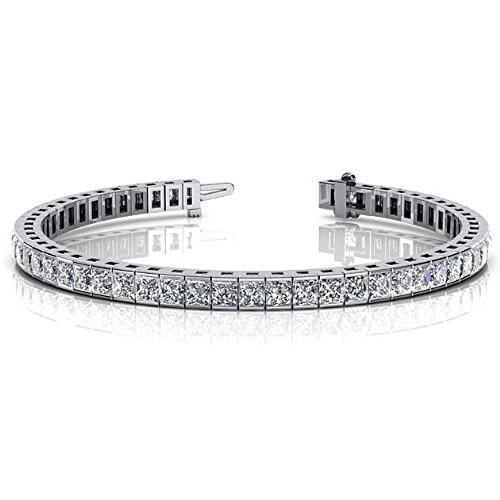 18K White Gold Diamond Princess Cut Channel Set Tennis Bracelet (8.96ctw.) - Size 8