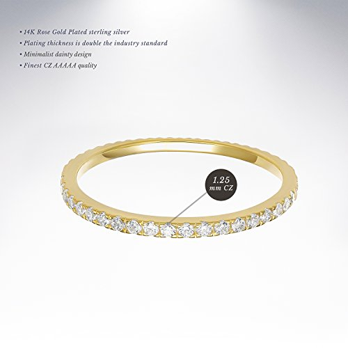 PAVOI AAAAA CZ 14K YELLOW GOLD Plated Silver Cubic Zirconia Stackable Eternity Ring - Size 5 by PAVOI (Image #2)'
