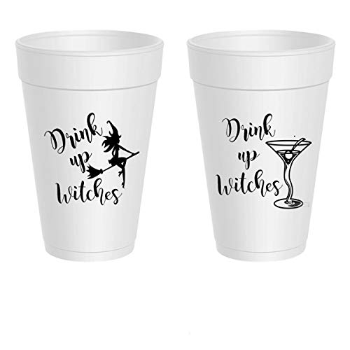 Halloween Styrofoam Cups - Drink Up Witches Martini (10 cups)