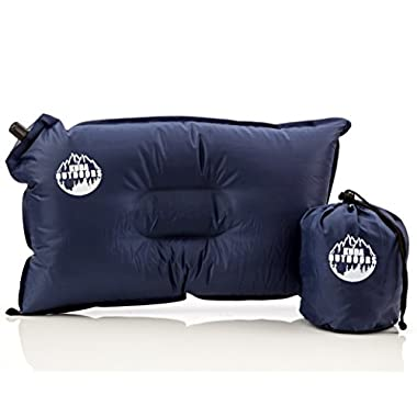 Kuda Outdoors- The Best Inflatable Travel Pillow, Self Inflating Travel Pillow, Air Travel Pillow. A comfortable inflatable pillow for the airplane, beach, camping, or relaxing outdoors. (Blue)