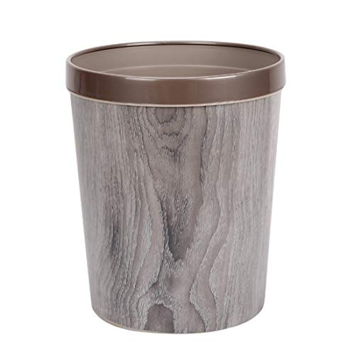 WOLFBUSH 12L Trash Can Durable Garbage Can Waste Basket with Wood-Grain European Style Wastebin for Bathroom, Bedroom, Office (Silver Grey) (European Baskets Style)