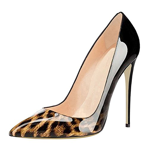 Emiki Women Gradient Color Stilettos Court Shoes Elegant Slip On High Heels Pointed Toe Pumps Wedding Evening Shoes Leopard-Schwarz Hv9ME2v